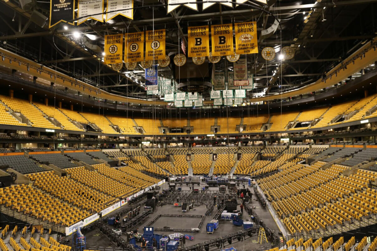 TD Garden preparing for concert, concert stage set up, concert set up at TD Garden, TD Garden in Boston