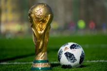 world cup trophy, world cup soccer ball, soccer ball, soccer pitch, soccer field, grass