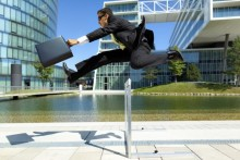 Business man leaping