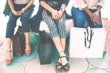 women's feet, shopping bags, women sitting on bench