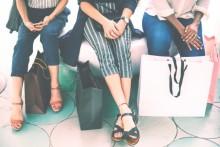 women's feet, shopping bags, women sitting on bench
