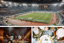 soccer stadium, rock concert, wedding reception