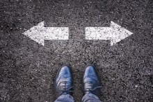 man choosing which direction to go