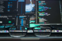 glasses, reader's glasses, computer screen, keyboard, coding, programming