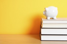 piggy bank with books