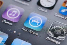 Apple App Store icon, iPhone home screen with apps