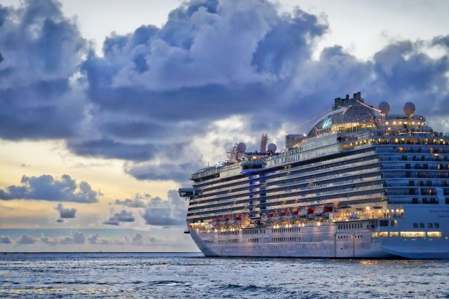 cruise ship at sea, cruise ship, cruise ship at sea during evening time