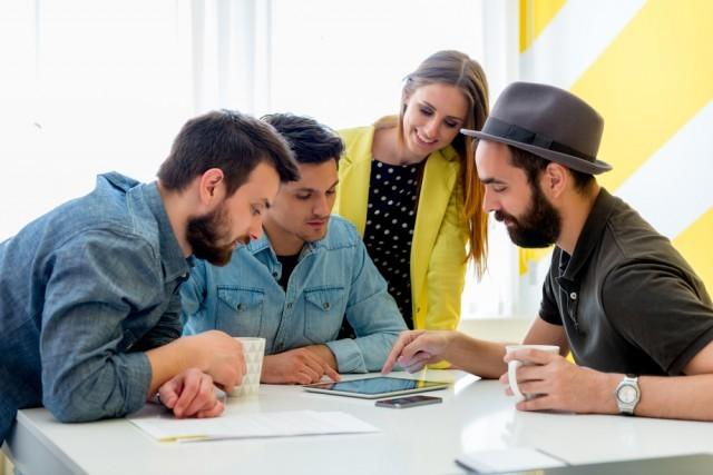 group of coworkers brainstorming