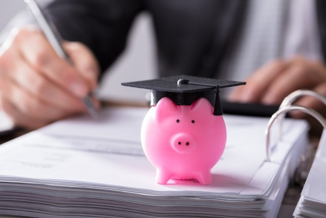 piggy bank with graduation cap, planning for graduation, pig with graduation cap, college student taking notes in binder