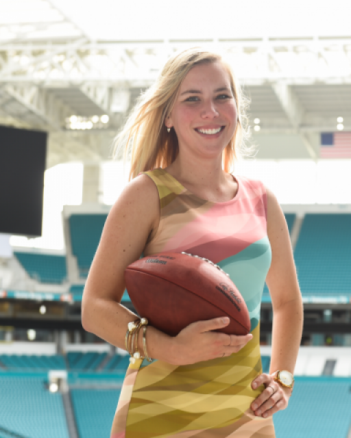 JWU Online graduate Casie St. Gelais '18 MBA-Hospitality has a rewarding career with the Miami Dolphins.