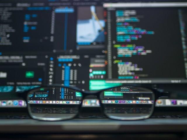 glasses, reader's glasses, computer screen, keyboard, coding, programming