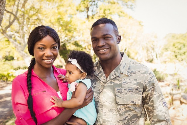 Military family with their baby