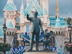 Walt Disney with Mickey Mouse statue, Walt Disney, Mickey Mouse, Disneyland castle, Disneyland