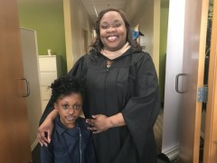Dwede Dennis, JWU student, mother and son, graduate