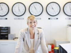woman with multiple time zone clocks, international business degree, international business degree programs, online international business degree