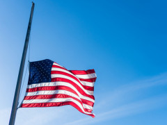 American flag, flag of the United States, USA flag, flag at half-mast, American flag at half-mast, American flag at half-mast for late President George H.W. Bush