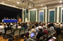 panel of Johnson & Wales University alumni, JWU alumni panel, students listening to panel of marketers, students listening to JWU alumni panel