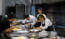 Kitchen staff working