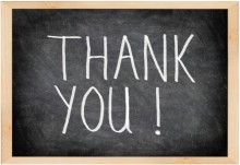 Thank you written on a chalkboard